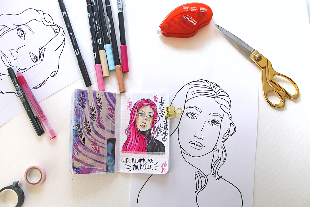 How to use sketched faces in your art journal – 4 free templates to practise with today